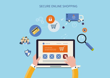 Mobile marketing and secure online shopping concept flat icons. Pay per click. Delivery. Vector illustration