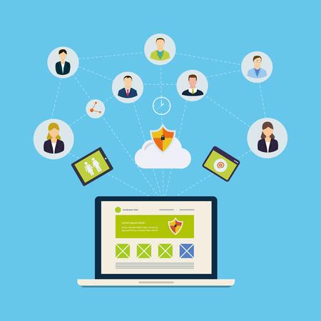 Social network e il concetto di lavoro di squadra per il web e infografica. Stile piatto illustrazione vettoriale Archivio Fotografico - 36425394