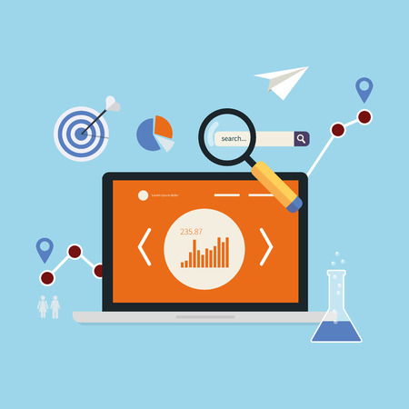 market research: Flat design modern vector illustration concept of website analytics and market research using modern mobile devices.