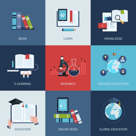 Set of icons for education include distance education, e-learning, manual, research, video-on-demand, global education.