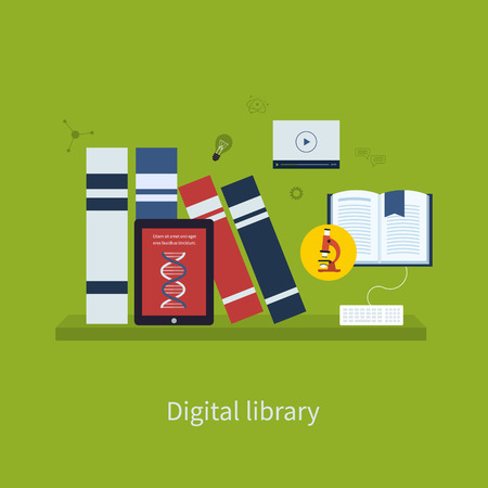 digital library: Flat design modern vector illustration icons set of online education and digital library