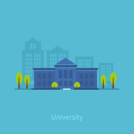 university building: School and university building icon. Vector illustration