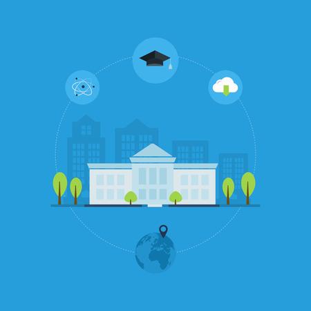 escuela edificio: Escuela y edificio de la universidad icono. Ilustraci�n vectorial Vectores