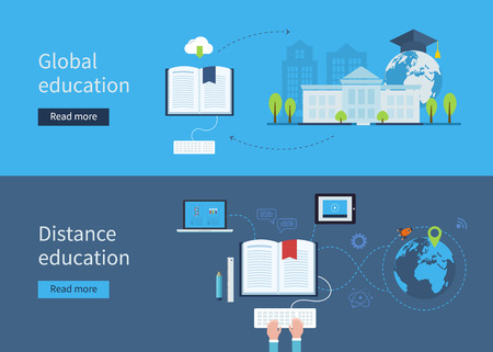 education technology: Set of flat design concept icons for distance and global education. Icons for education for all, distance education, training and tutorials
