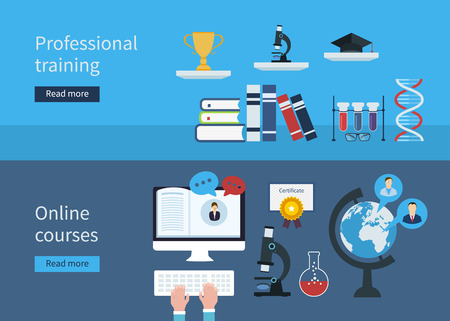 tutorial: Flat stylish design for professional training concept and online courses. Flat vector elements for web applications and banners