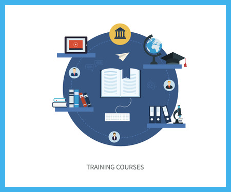 school computer: Flat design modern vector illustration icons set of online education and e-learning. Online course from universities and colleges proposes video-on-demand, forum, communication. Illustration