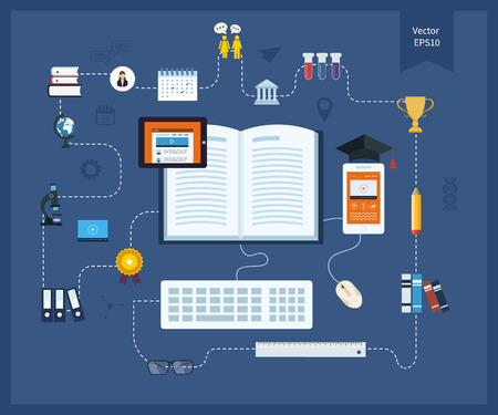 libraries: Flat design modern vector illustration icons set of distance education and e-learning