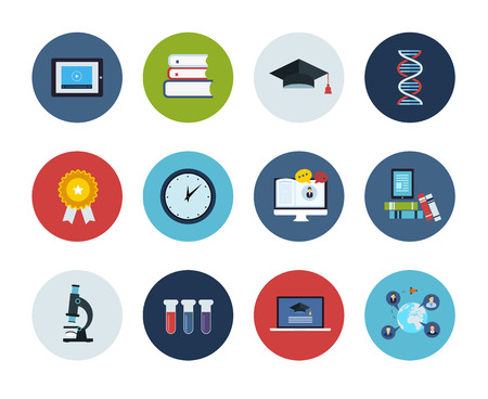 elearning: Flat style education and science vector illustrations. Circle icons set.