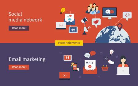interaccion social: Conjunto de diseño plano ilustración vectorial conceptos de compras en línea, red de medios sociales, marketing móvil y el marketing digital.