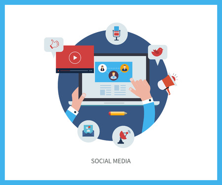 medios de comunicaci�n social: Conjunto de dise�o plano ilustraci�n vectorial conceptos para la comunicaci�n en l�nea y medios sociales. Conceptos para la web banners y materiales impresos.