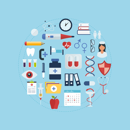 Flat health care and medical research background. Healthcare system concept. Stock Illustratie
