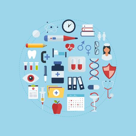 Wohnung Gesundheitswesen und medizinische Forschung Hintergrund. Gesundheitswesen Konzept. Standard-Bild - 36456947