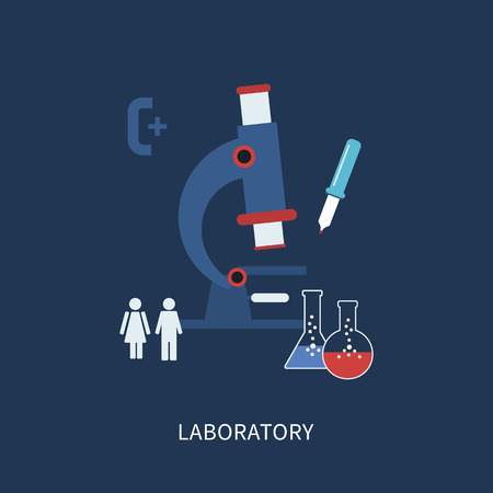 medical test: Laboratory microscope equipment  icons set vector illustration in flat style Illustration