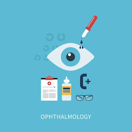 ophthalmology: Ophthalmology flat concept, icons set vector illustration in flat style