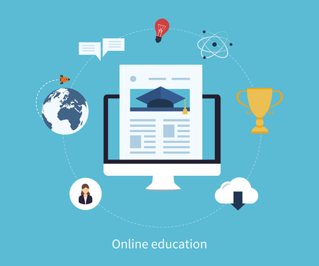 web courses: Flat design modern vector illustration icons set of online education and e-learning