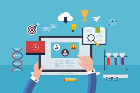 Flat design modern vector illustration icons set of online education and and e-learning. User choose online course. Online course proposes  video-on-demand, forum, communication.