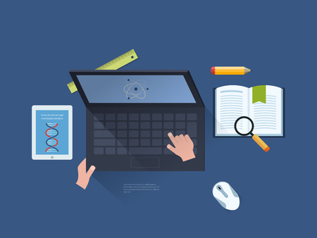 proposes: Flat design modern vector illustration icons set of online education and e-learning. User choose online course. Online course proposes access through laptop, tablet, manual.