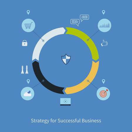 productivity system: Modern infographics set. Vector illustration icons set of Strategy for Successful Business.