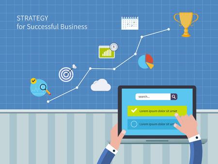 planeación estrategica: Círculo completo de servicios de consultoría de concepto, incluyendo la investigación de mercado y análisis de datos. Ilustración vectorial conjunto de iconos de la estrategia para el éxito empresarial y planificación estratégica Vectores
