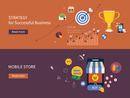 competitive advantage: Set of flat design vector illustration concepts for strategy of successful business, online shopping and mobile store. Concepts for web banners and printed materials