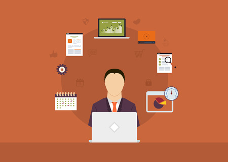 manager: Concept of consulting services, project management, time management, marketing research, strategic planning. All elements are around icon of businessman Illustration