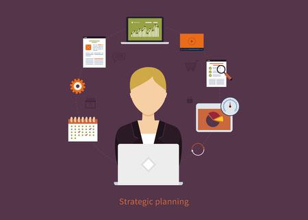 planificacion estrategica: Concepto de servicios de consultoría, gestión de proyectos, gestión del tiempo, la investigación de mercados, planificación estratégica. Todos los elementos están en torno icono de la empresaria