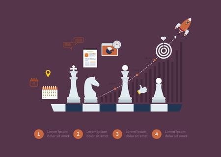 Set van platte ontwerp vector illustratie concepten voor strategie planning, doelgerichte planning, succesvol bedrijf en opkomende markten Stock Illustratie