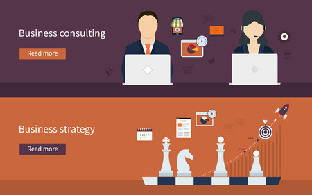 business strategy: Set of flat design concept icons for business strategy and business consulting. Concepts for web banners and printed materials.