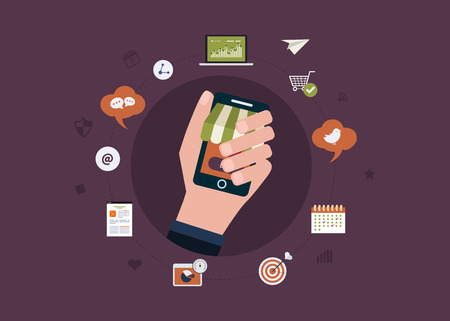 strategic advantage: Set of flat design vector illustration concepts for business strategy and mobile marketing. Icon man holding a smartphone in hand.