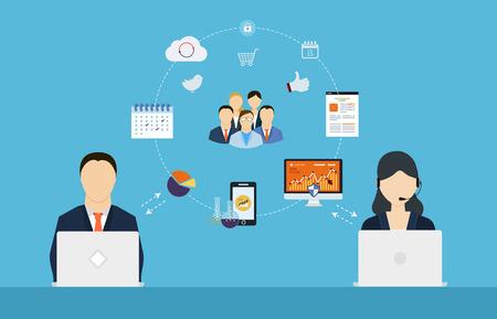 Pojęcie usług konsultingowych, zarządzania projektami, zarządzania czasem, badań marketingowych, planowania strategicznego. Ilustracje wektorowe