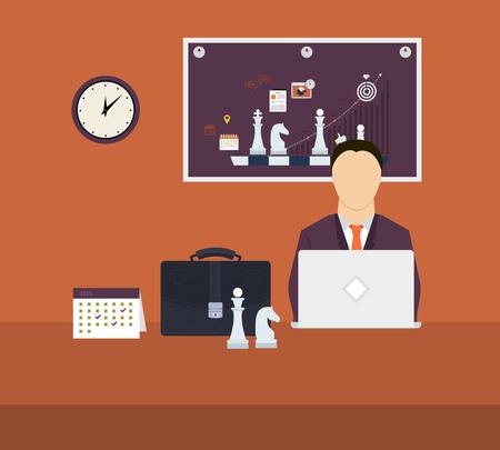 Set van vlakke ontwerp vectorillustratie concepten voor workflow, strategische planning, doelgerichte planning en succesvolle zaken Stock Illustratie