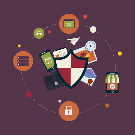 schedule system: Flat shield icon. Data protection concept. Social network security and data protection Illustration