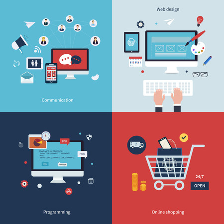 Icons for communication, web design, programming, workflow, social network and online shopping in flat design. Vector illustration.