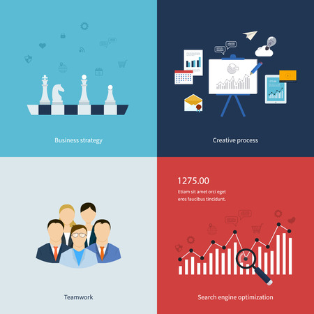 business decisions: Icons for business strategy, teamwork, workflow, creative process and search engine optimization in flat design. Vector illustration.
