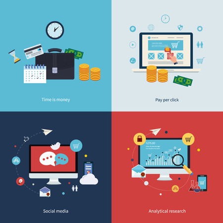 Icons for time is money, pay per click, online shopping, social media and analytical research in flat design. Vector illustration. Vettoriali