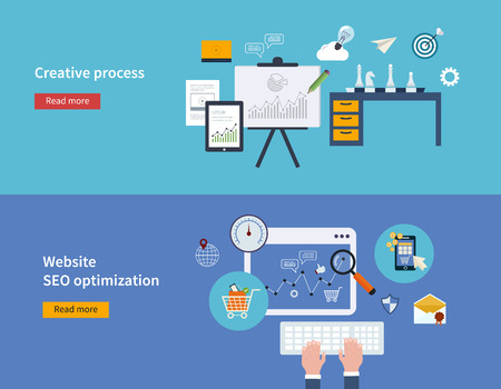 seo process: Set of flat design vector illustration concepts of creative process and website SEO optimization and mobile marketing.