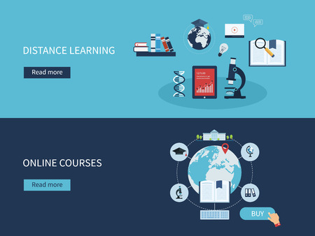 Flat design modern vector illustration icons set of distance learning and online courses