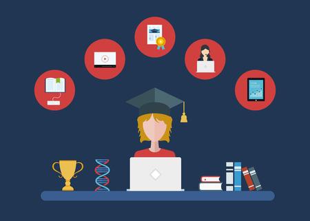 aprendizaje: Diseño plano vector moderna ilustración iconos conjunto de la educación a distancia y e-learning