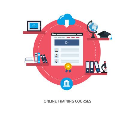 フラットなデザイン現代ベクトル イラスト アイコン セットのオンライン教育と e ラーニング。大学および大学からのオンライン コースは、ビデオ