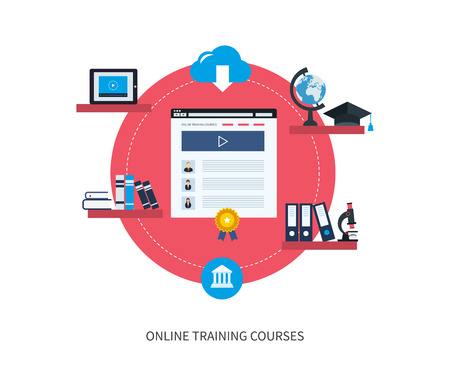 Flat design modern vector illustration icons set of online education and e-learning. Online course from universities and colleges proposes video-on-demand, forum, communication. Illustration