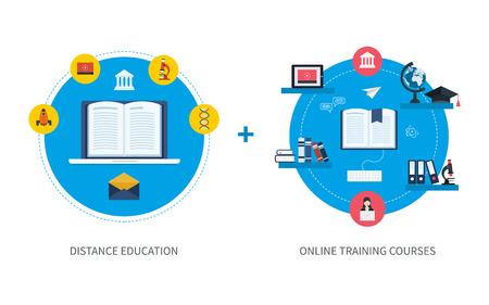 proposes: Flat design modern vector illustration icons set of online education and e-learning. Online course from universities and colleges proposes video-on-demand, forum, communication