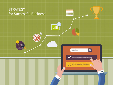 strategic advantage: Full circle of concept consulting services including market research and data analysis. Vector illustration icons set of strategy for successful business and strategic planning Illustration