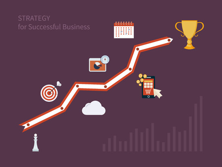 competitive advantage: Set of flat design concept icons for strategic planning and strategy for successful business. Illustration includes icons for goal marketing, emerging market, mobile services and marketing research.