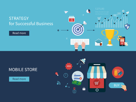 business competition: Set of flat design vector illustration concepts for strategy of successful business, online shopping and mobile store. Concepts for web banners and printed materials. Illustration