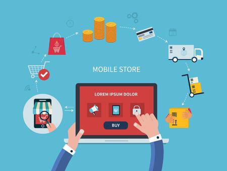 Appartement dessin vectoriel avec l'e-commerce et en ligne commerciaux icônes et éléments pour l'histoire mobile. Symboles de boutique en ligne, paiement en ligne, le service client et la livraison Vecteurs