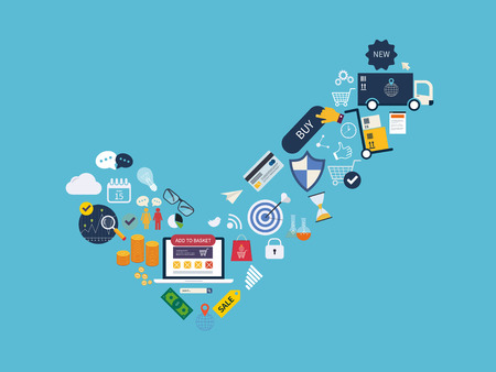 market research: Full circle of market research, advertisement, online shopping, e-commerce service, payment and delivery. All elements are presented as symbol yes. Concept leads to success. Illustration