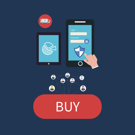 secure shopping: Flat web design icons for secure online shopping. Smartphone and tablet vector icons.