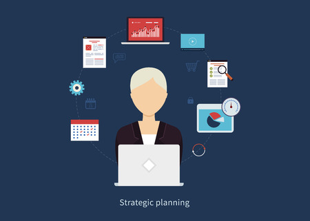 consulting services: Concept of consulting services, education, project management, time management, marketing research, strategic planning. All elements are around icon of businesswoman