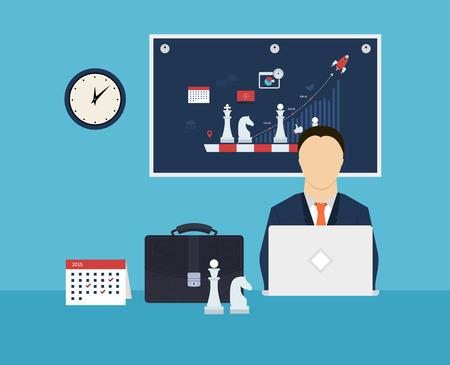 Set van platte ontwerp vector illustratie concepten voor workflow, strategie planning, doelgerichte planning en succesvol bedrijf Stockfoto - 36611829