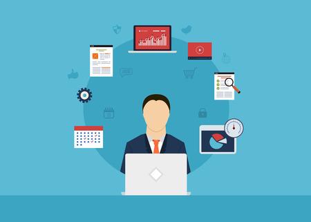 컨설팅 서비스, 프로젝트 관리, 시간 관리, 시장 조사, 전략 계획의 개념입니다. 모든 요소는 사업가의 아이콘 주위에
